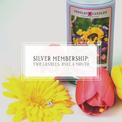 Candle Of The Month Club | Silver Package | Two Candles, Once Per Month-The Official Website of Jewelry Candles - Find Jewelry In Candles!