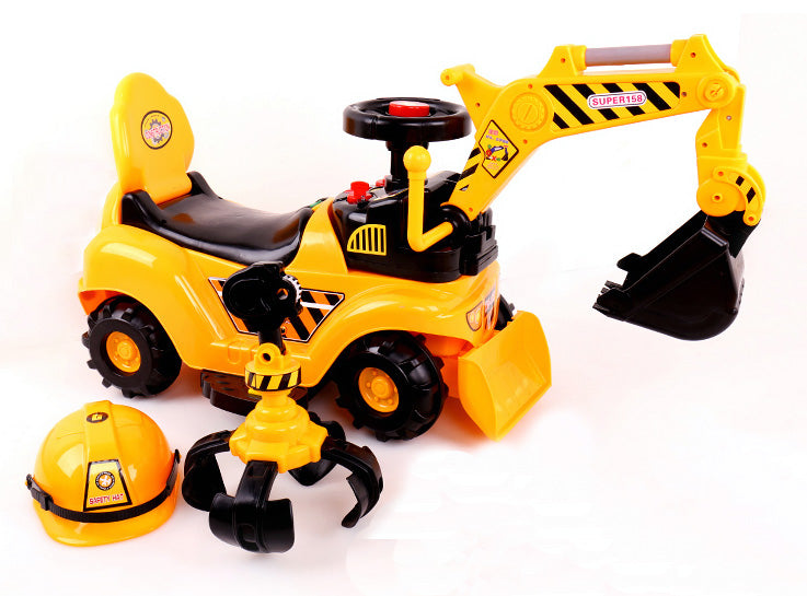 (PACK OF 4) RICCO® 2 in 1 Ride On Toy Digger Excavator Grabber Bulldozer with Helmet W007