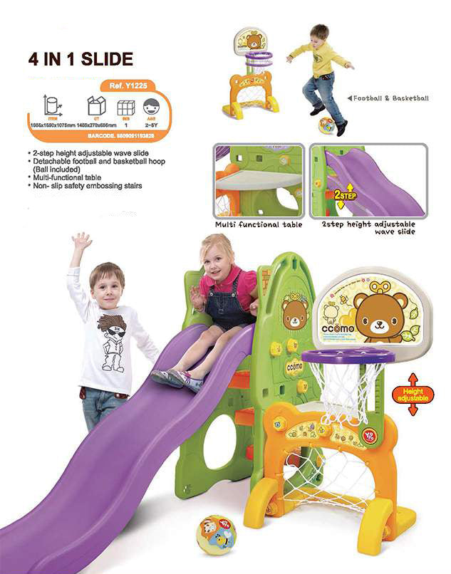 RICCO Y1225 4-in-1 Adjustable Wave Slide Kids Toddler Nursery Activity Play Centre with Table Detachable Football and Basketball Hoop