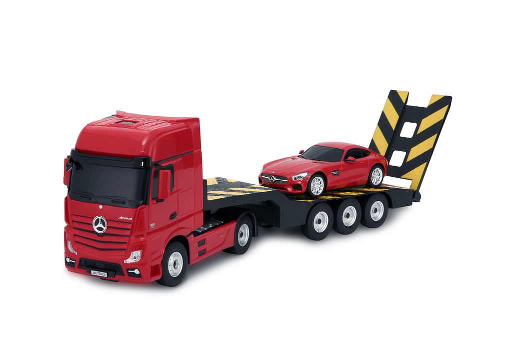 (PACK OF 6)  RC74920 Genuine Licensed 1: 26 Mercedes-Benz Actros Trailer Truck with 1/24 Car Radio Remote Control Car Red