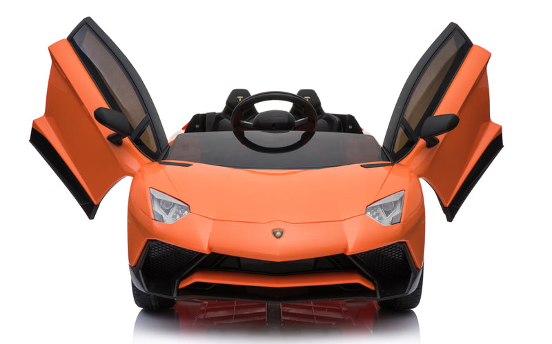 12V 7A Lamborghini Aventador SV Licensed Battery Powered Kids Electric Ride On Toy Car BDM0913 ORANGE
