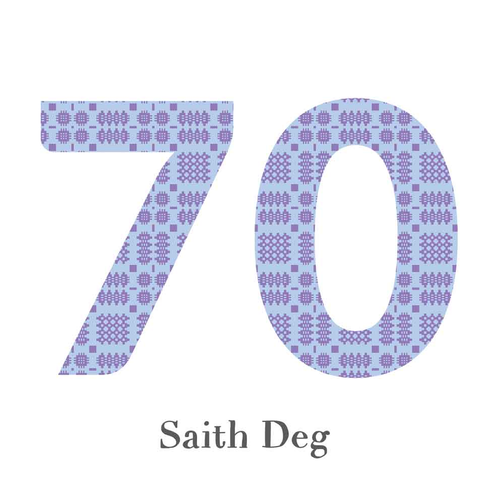 Card - Birthday / Anniversary - Saith Deg - 70-The Welsh Gift Shop