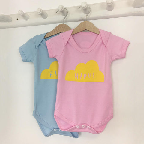Babygrow - Happy - Hapus - Blue / Pink-The Welsh Gift Shop