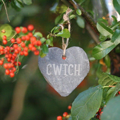 Slate Heart - Hand Made in Wales - Cwtch-Decoration-The Welsh Gift Shop