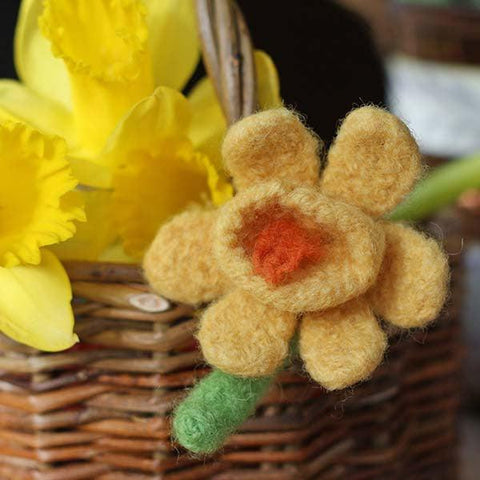 Badge / Brooch - Wool Daffodil-Jewellery-The Welsh Gift Shop