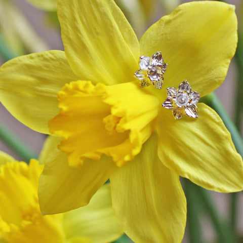 Earrings - Welsh Daffodils - Sterling Silver-Jewellery-The Welsh Gift Shop