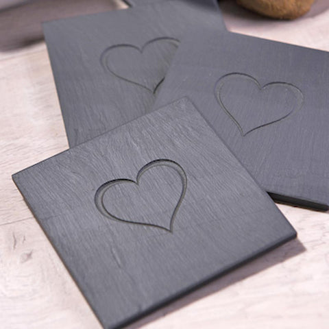 Heart Coasters - Welsh Slate - Set of four-Kitchen-The Welsh Gift Shop