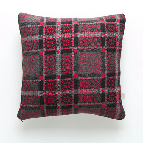 Cushion Cover - Melin Tregwynt - Welsh Tapestry / Knot Garden - Red-The Welsh Gift Shop