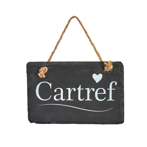Slate Hanging Sign - Cartref - Home-The Welsh Gift Shop
