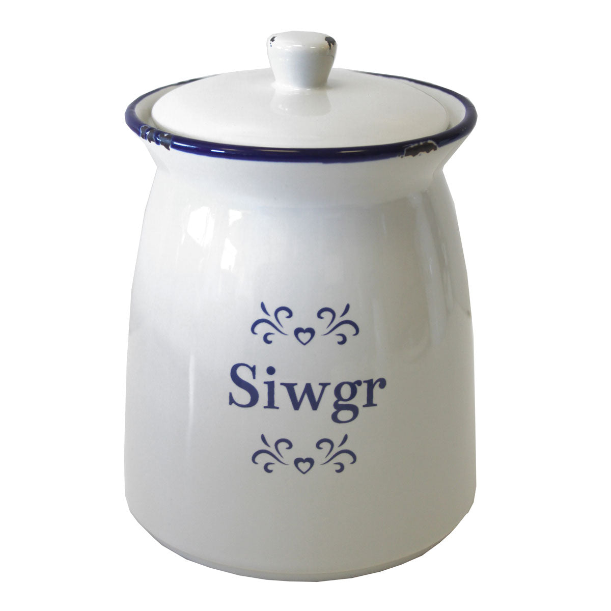 Storage Jar - Blue & White Ceramic - Siwgr - Sugar-The Welsh Gift Shop
