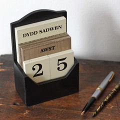 Calendar - Wooden Desk - Welsh Dates-The Welsh Gift Shop