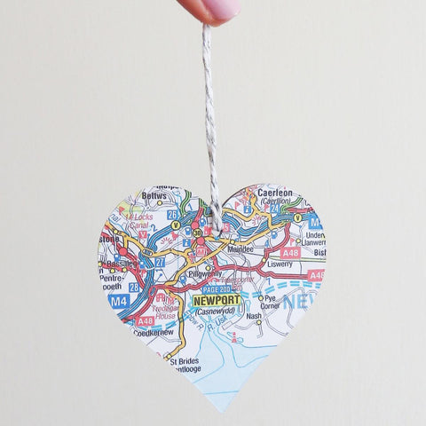Decoration - Welsh Map Heart - Choose your Location-Picture / SIgn-The Welsh Gift Shop
