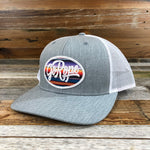 Serape Patch Trucker Hat- Grey/White