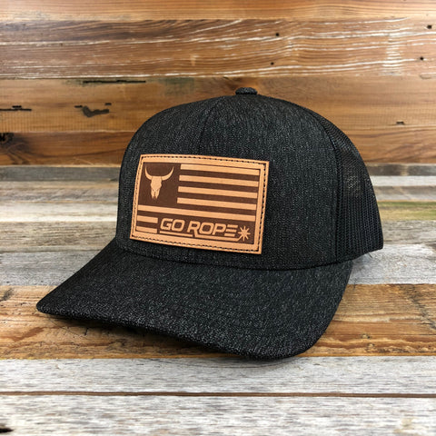 Leather Flag Patch Hat - Black Heather