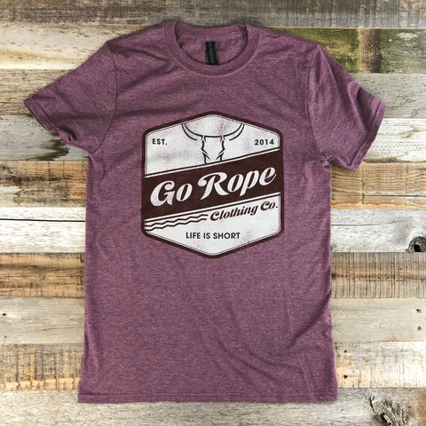 Men's Go Rope Badge Tee- Heather Maroon