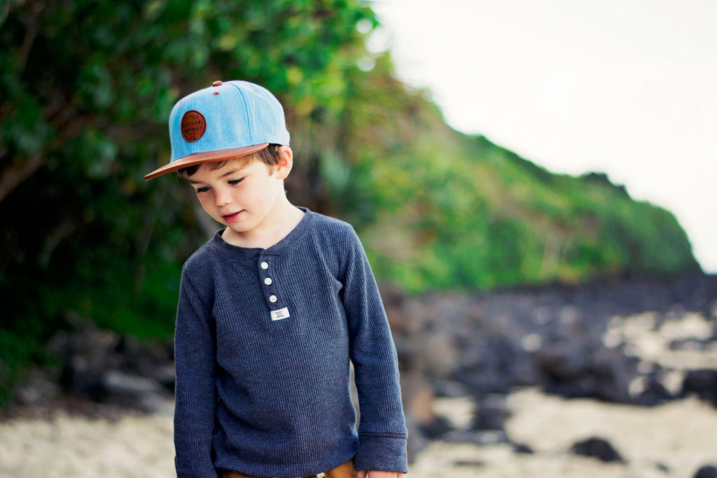 little renegade cap denim & tan print