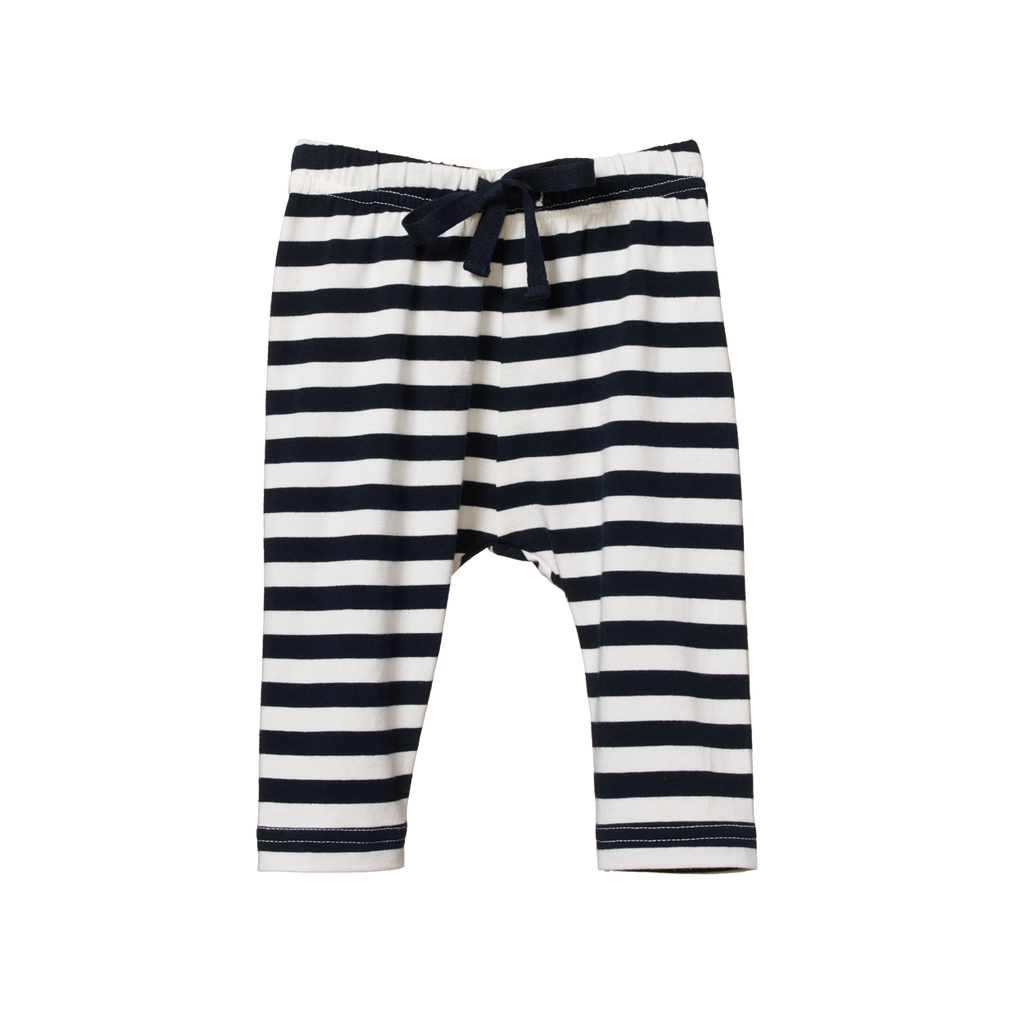 nature baby organic cotton sunday pants in navy stripe