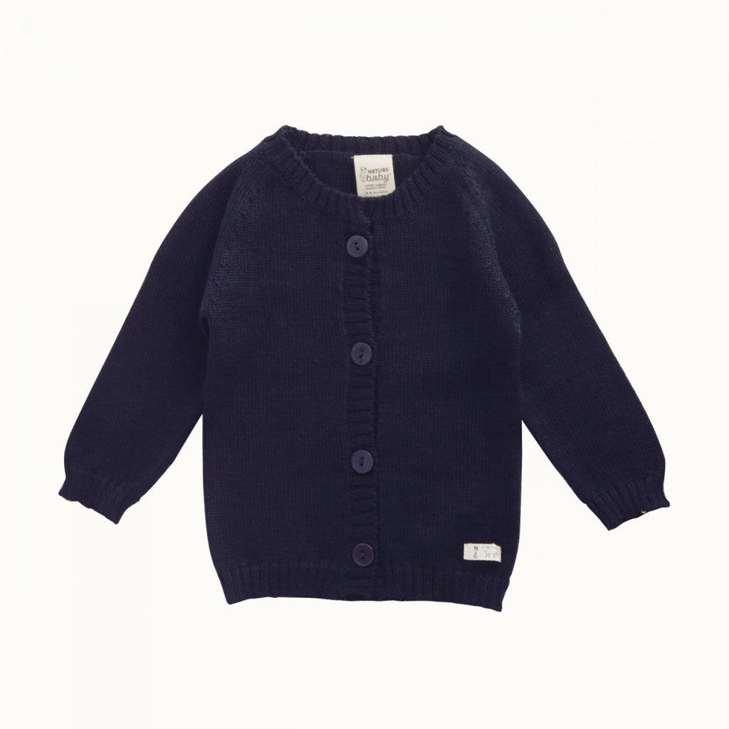 nature baby merino knit cardigan in navy