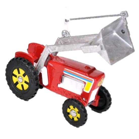fun ho front end loader tractor in red