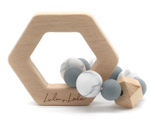 lulu & lala lennox blue wooden teething rattle