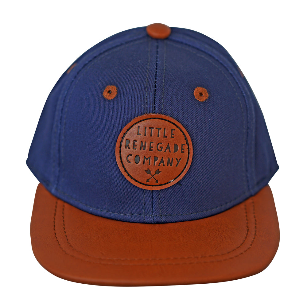 little renegade cap in navy & tan