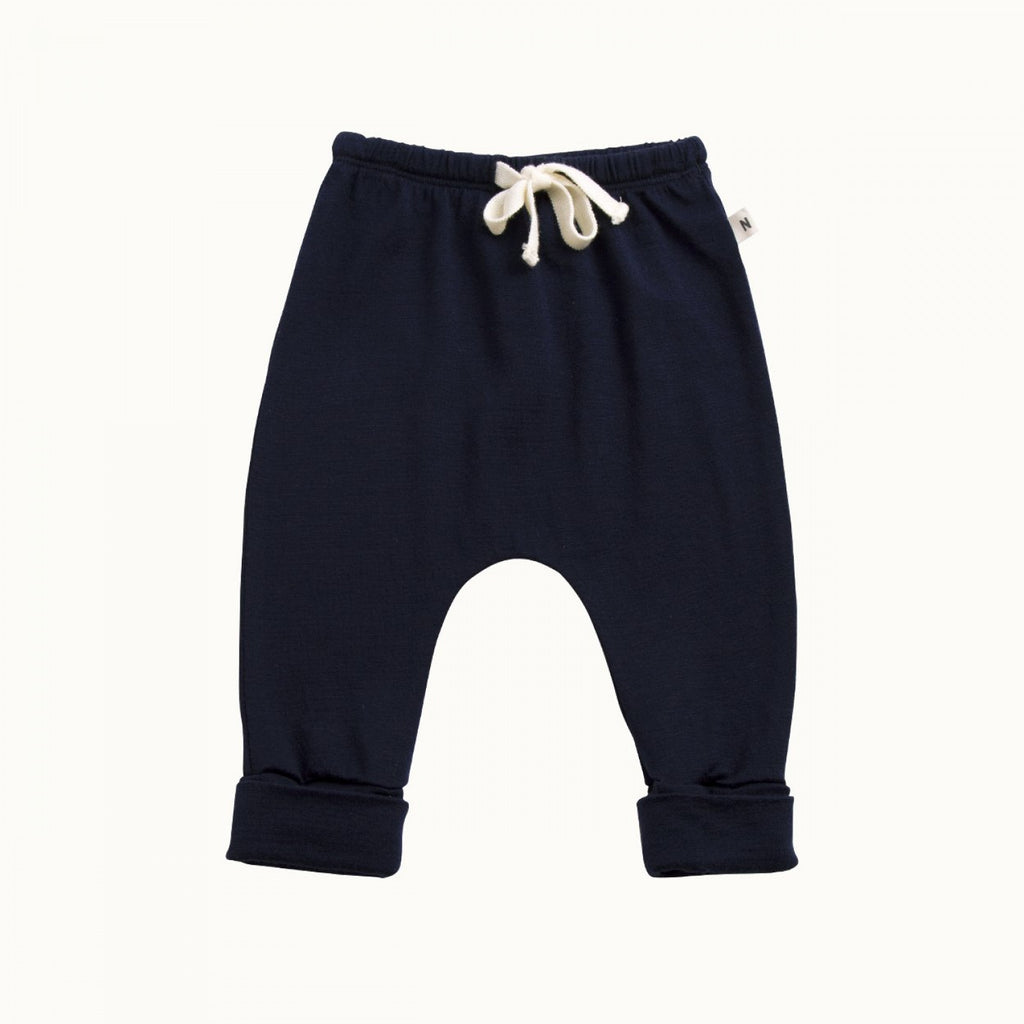 nature baby merino drawstring pants in navy