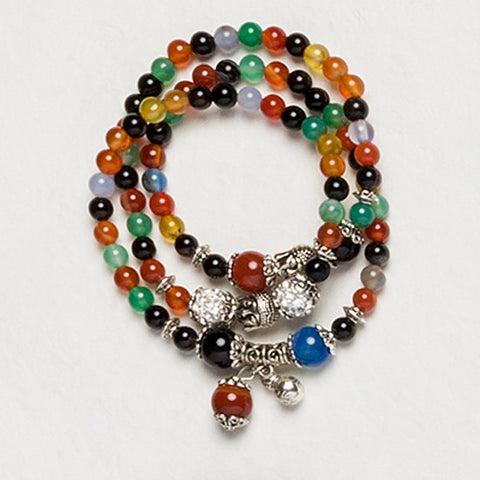 Beaded Buddha Bracelet, Beaded Necklace Wrap Bracelet, Buddha Bead Wrap Bracelet