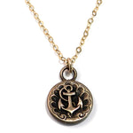 SHIPS ANCHOR - Antique Button Classic Necklace - GOLD