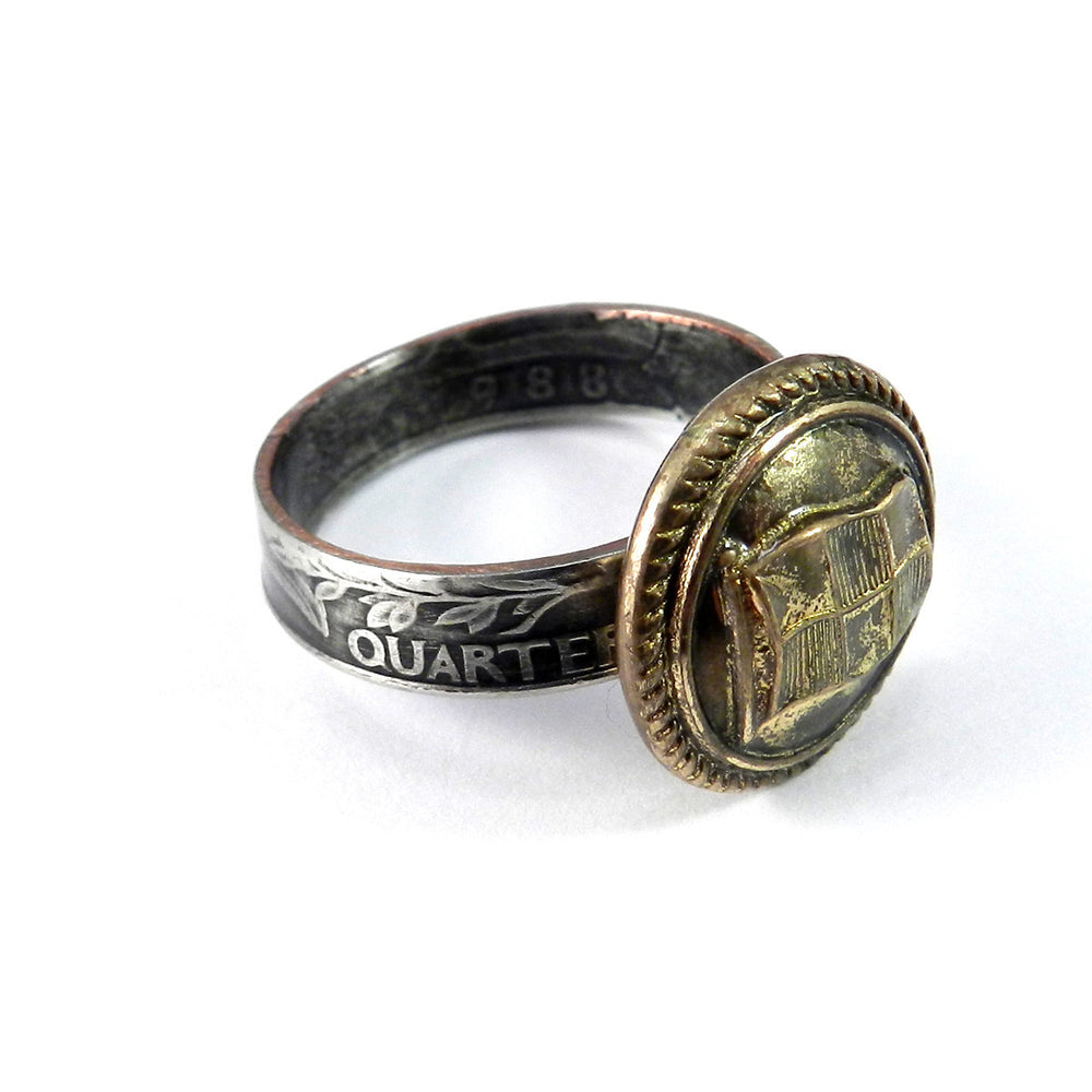 Coin Ring with Vintage Steamship Button - size 11.5