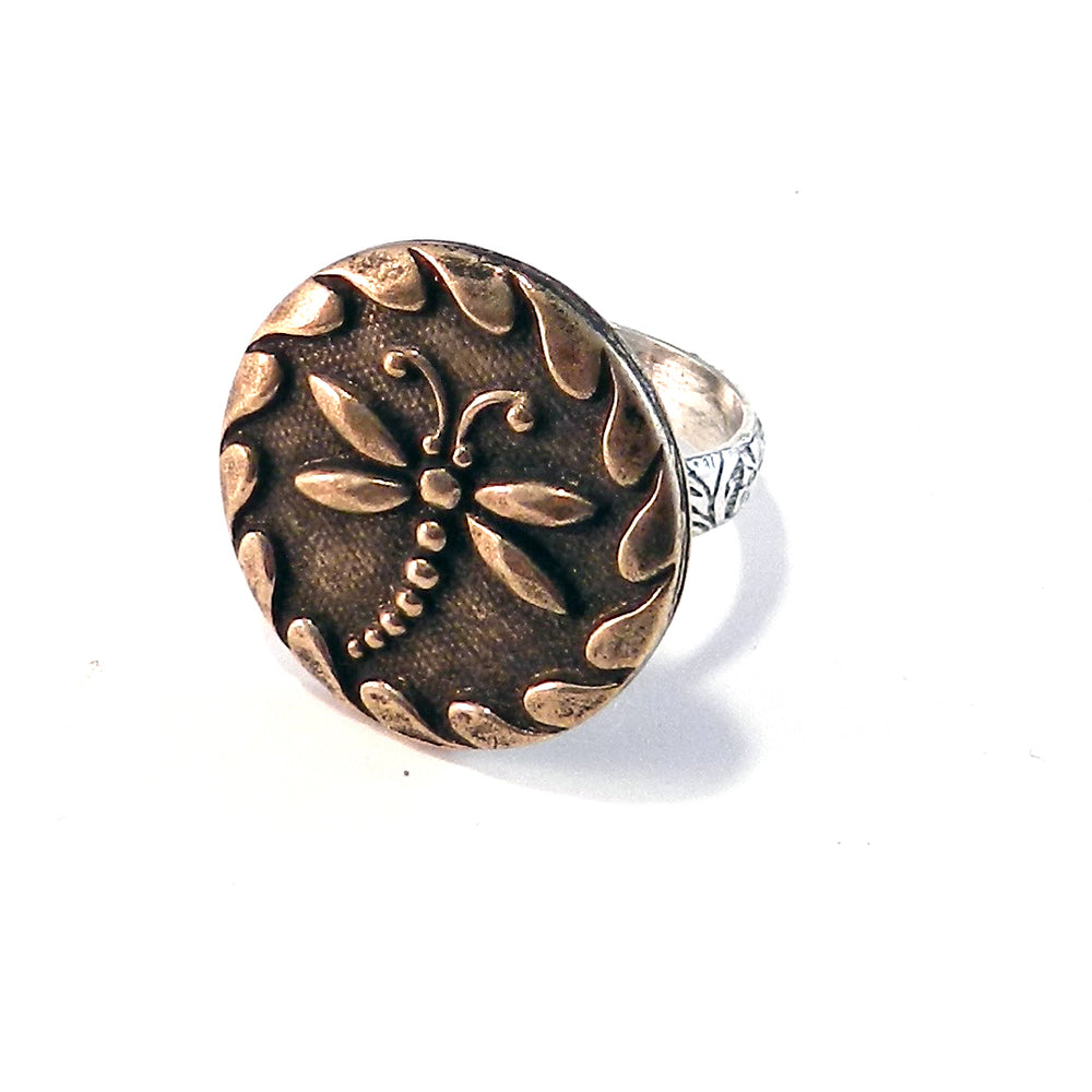 DRAGONFLY Antique Button Statement Ring - MIXED METAL