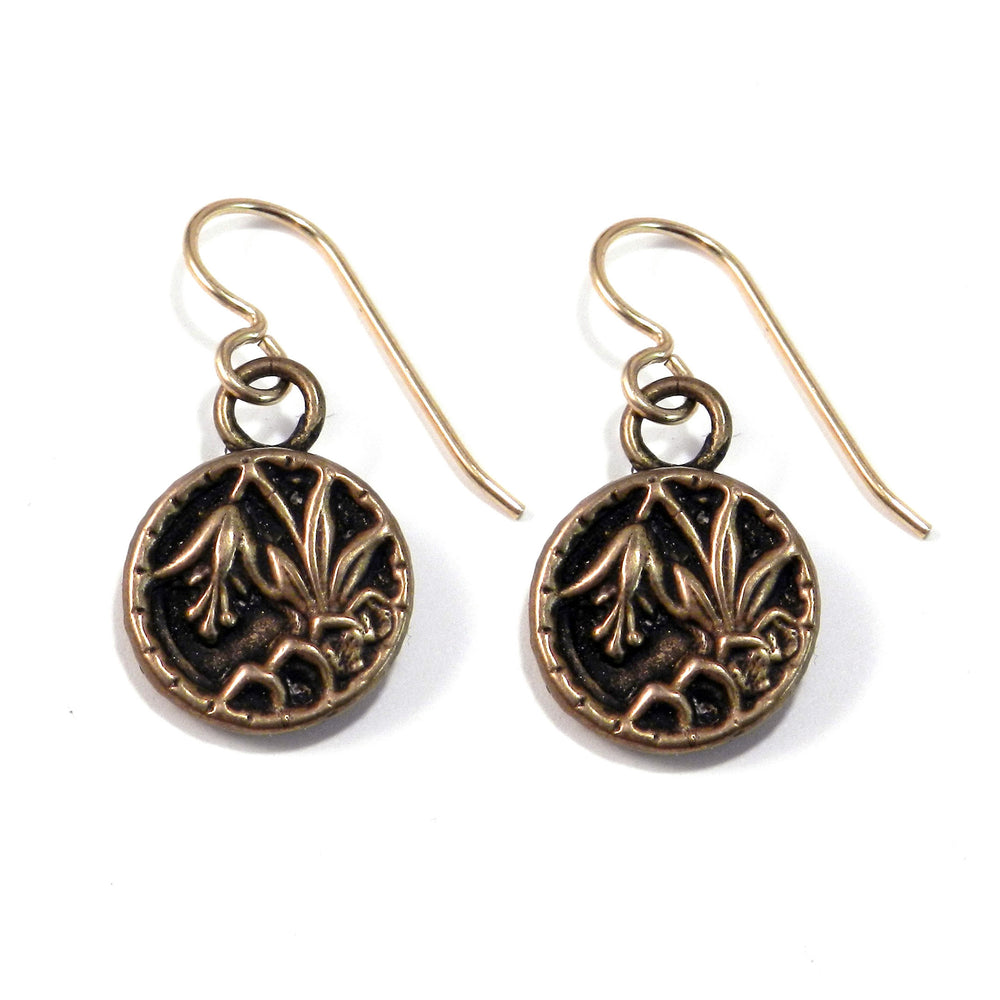 LILY Antique Button Earrings - GOLD