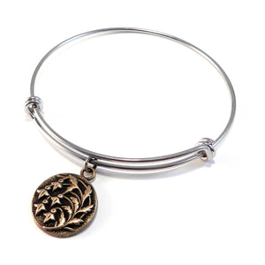 SNOWDROP Antique Button Bangle Charm Bracelet - MIXED METAL