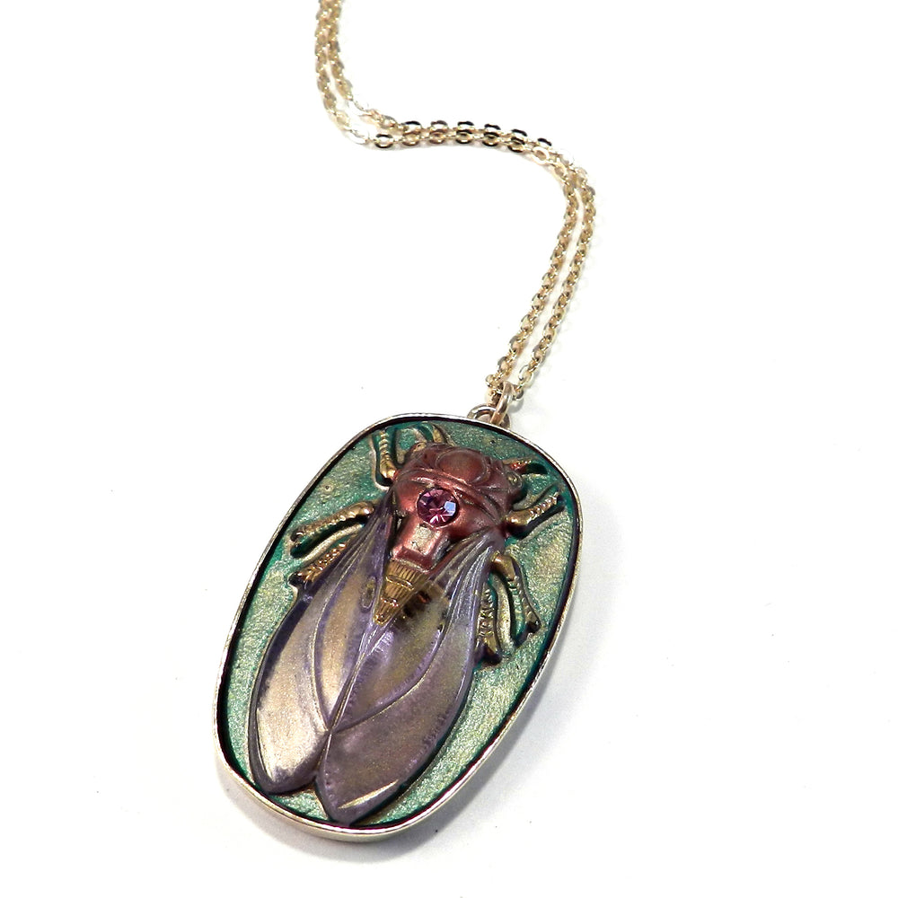 CICADA Vintage Button Necklace - Frosted Lilac - GOLD