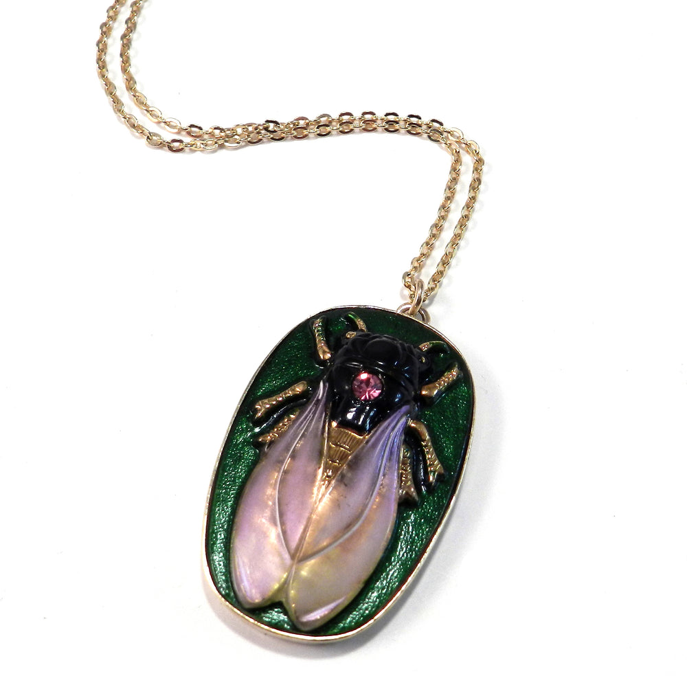 CICADA Vintage Button Necklace - Lavender Meadow - GOLD