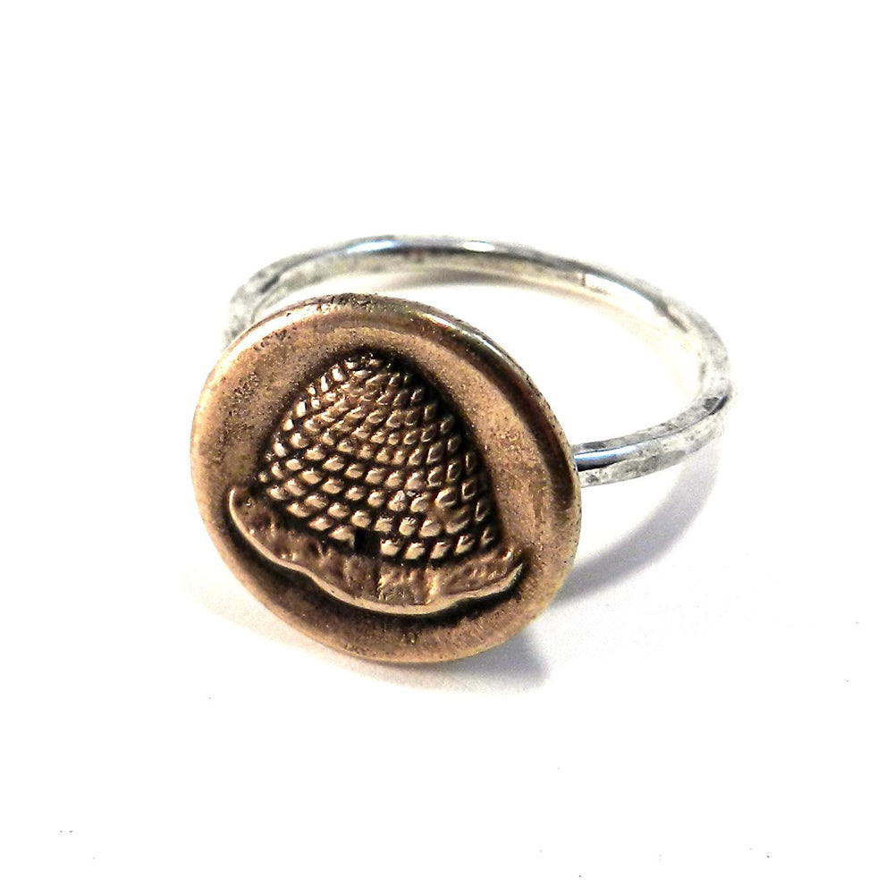 BEEHIVE Antique Button Ring - MIXED METAL