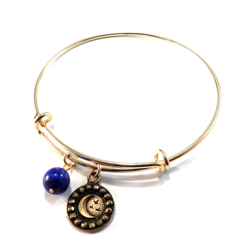 CRESCENT MOON Antique Button Bangle Charm Bracelet - BRONZE
