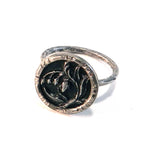 Black and Silver Bleeding Heart - Antique Button Ring - Size 7