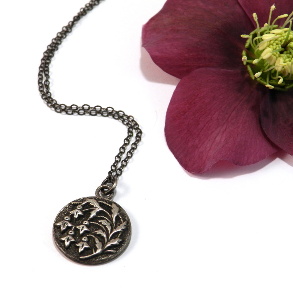 SNOWDROP Flower Antique Button Necklace - Sterling Silver
