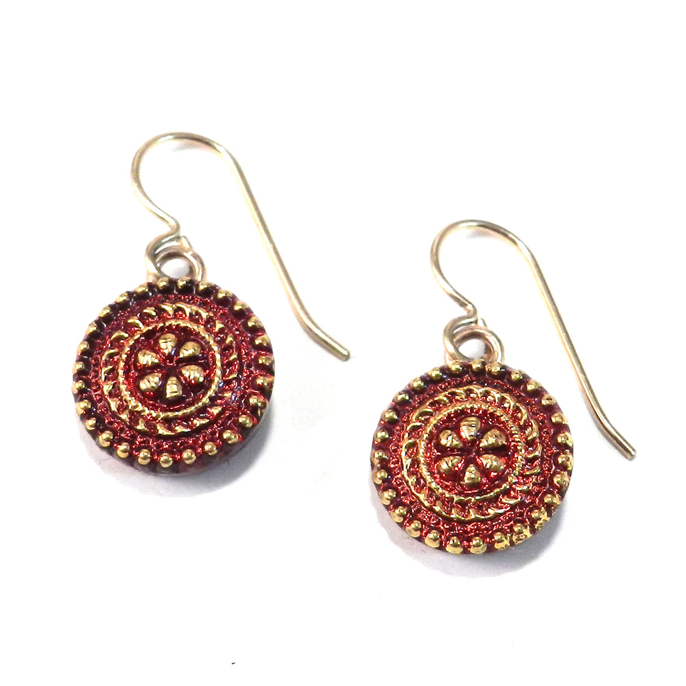 RUBY MANDALA Antique Button Earrings - Gold