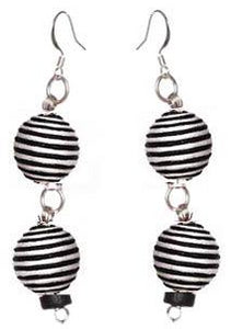 Pom Boho Chic Earrings (Stripes)
