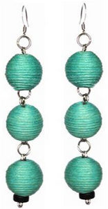 Pom Boho Chic Earrings (Teal Green)