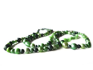 SLJ Emerald Pearl Rope Necklace Green Pearl Handmade Evening Unique Fashion Jewelry Travel Jewelry Clearance Sale