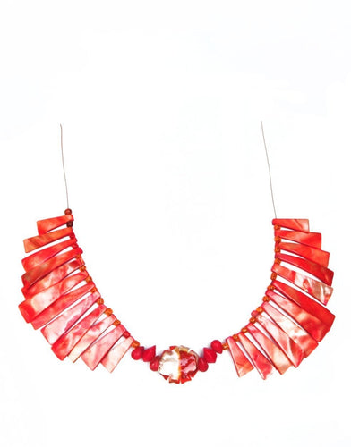 SLJ Firebird Fan Choker Necklace Coral Shell Island Classic Handmade Natural Spiritual Travel Resort Boho Chic Collection