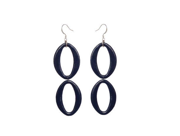 SLJ Indigo Earrings - Double Blue Oval Handmade Evening Unique Fashion Jewelry Travel Jewelry Clearance Sale Bridal Gift Graduation