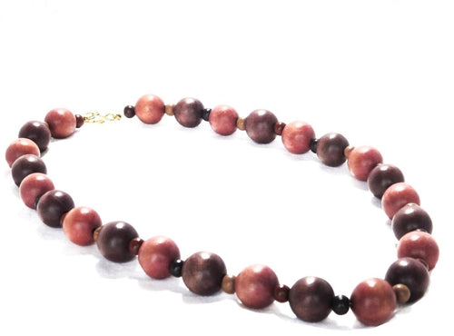 SLJ Jubilee Burgundy Shade Wooden Beaded Necklace Fashion Handmade Natural Spiritual Travel Resort Boho Chic Collection