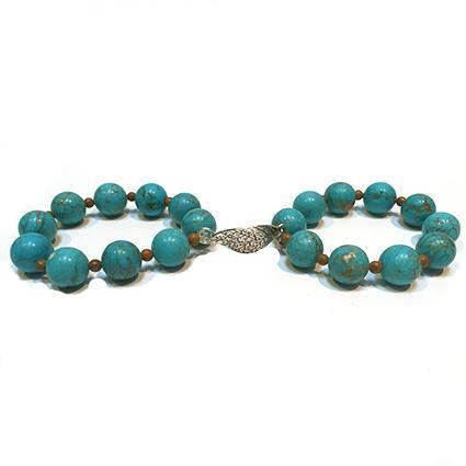 SLJ Turquoise Double Leaf Bangle Bracelets Stone Beaded Handmade Natural Spiritual Travel Resort Boho Chic Collection