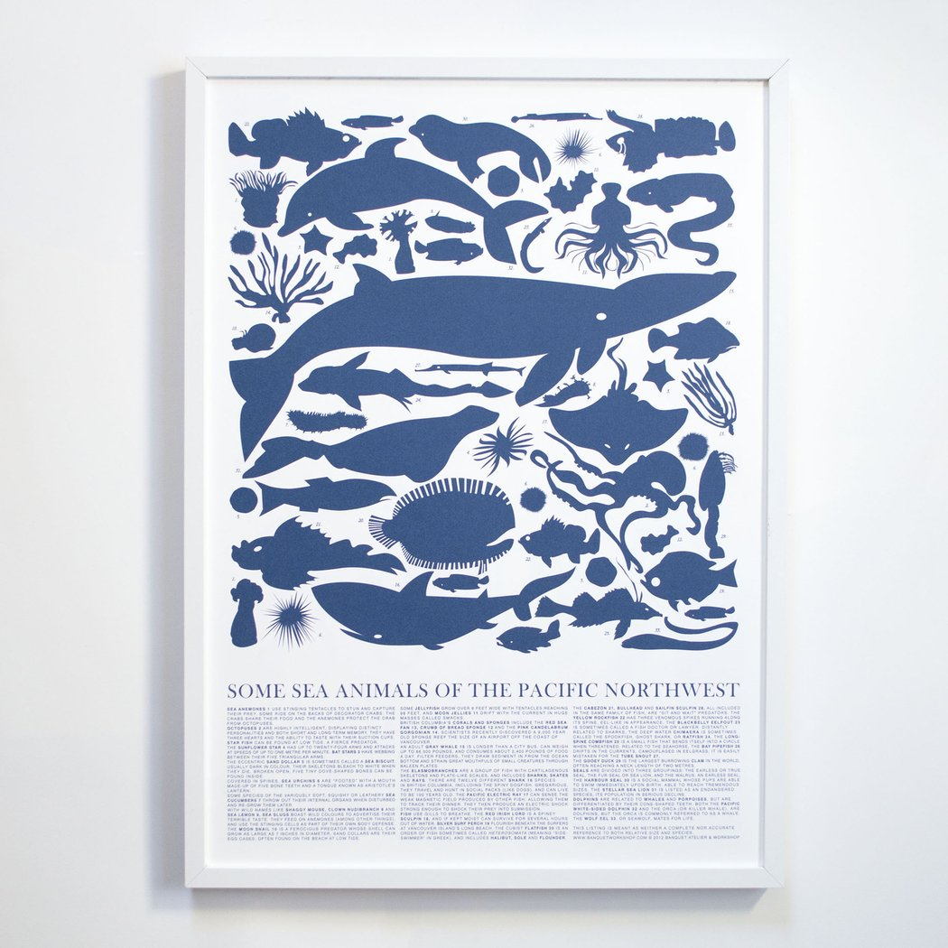 Banquet Workshop Pacific Northwest Sea Animals Silkscreen Art Print