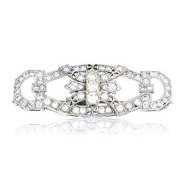Art Deco Diamond Brooch In Platinum