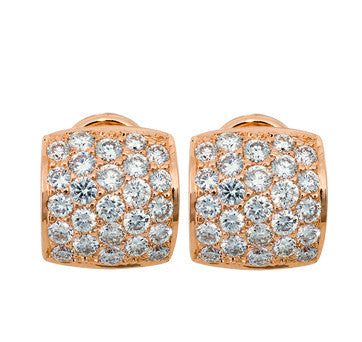 14K Pink Gold Diamond Pave Earrings