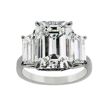 Platinum Emerald Cut Diamond 3-Stone Ring